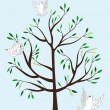 Vector de stock : Magic tree and three white fairy pigeons