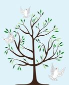 Magic tree and three white fairy pigeons — Vector de stock