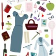 Woman's whole day items set — Imagens vectoriais em stock