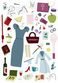 Woman's whole day items set — Stock Vector