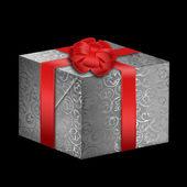 Gümüş kutu kırmızı kurdele ile — Stok fotoğraf