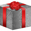 Silver gift box with red ribbon — Stock Photo