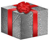 Silver gift box with red ribbon — Stok fotoğraf
