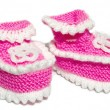 Kids knit baby's bootees — Stock Photo #1082660