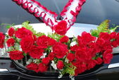 Decoration of the wedding car — Stock Photo