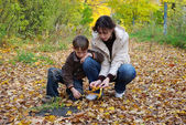 Mother and son collect fallen leaves — Stock Photo