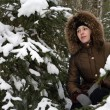 A girl in winter forest — Stock Photo