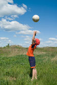 Boy playing with ball — Stock Photo