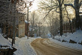 Snow-covered streets — Stok fotoğraf