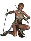 Fighting woman samurai with katana — Stock Photo