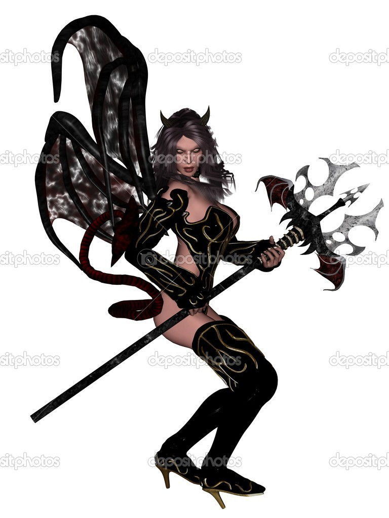 3D rendered sexy woman devil rendered on white background isolated  Stock Photo #1980332