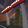 Royalty-Free Stock Vector Image: Monorail and modern city