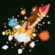 Royalty-Free Stock Vector Image: Mouse flying on fireworks
