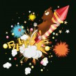 Mouse flying on fireworks — Stock Vector
