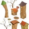 Set of small houses - Stock Vector
