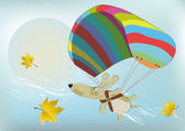 Flying dog with the parachute — Stock Vector