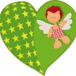 Heart with an angel - Stock Vector
