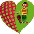 Royalty-Free Stock Vektorfiler: Clown and a heart