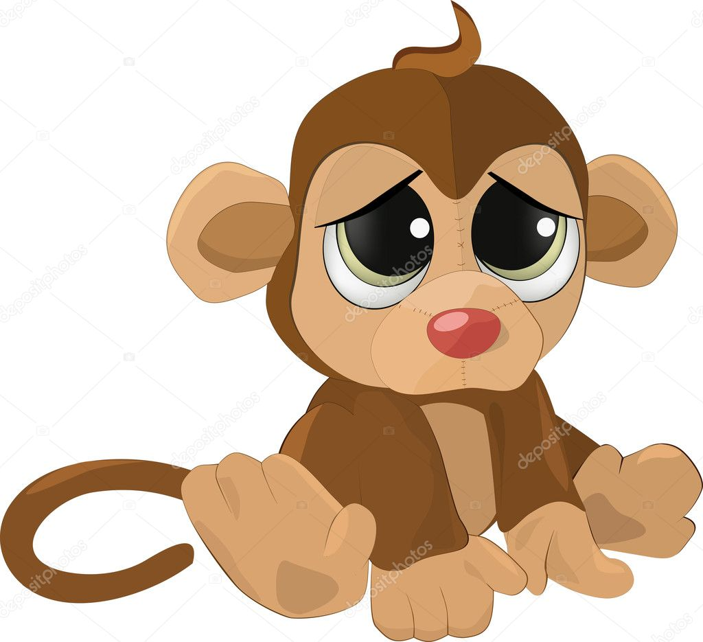 Soft toy a sad monkey — Stock Vector #1352823