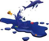 Golfinho e do mar — Vetor de Stock
