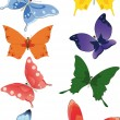 Stock Vector: Group of butterflies