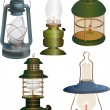 Stock Vector: Set of old lamps
