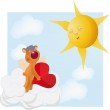 Bear with heart and the sun — Stock Vector