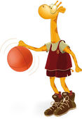 Giraffe the basketball player — Vettoriale Stock