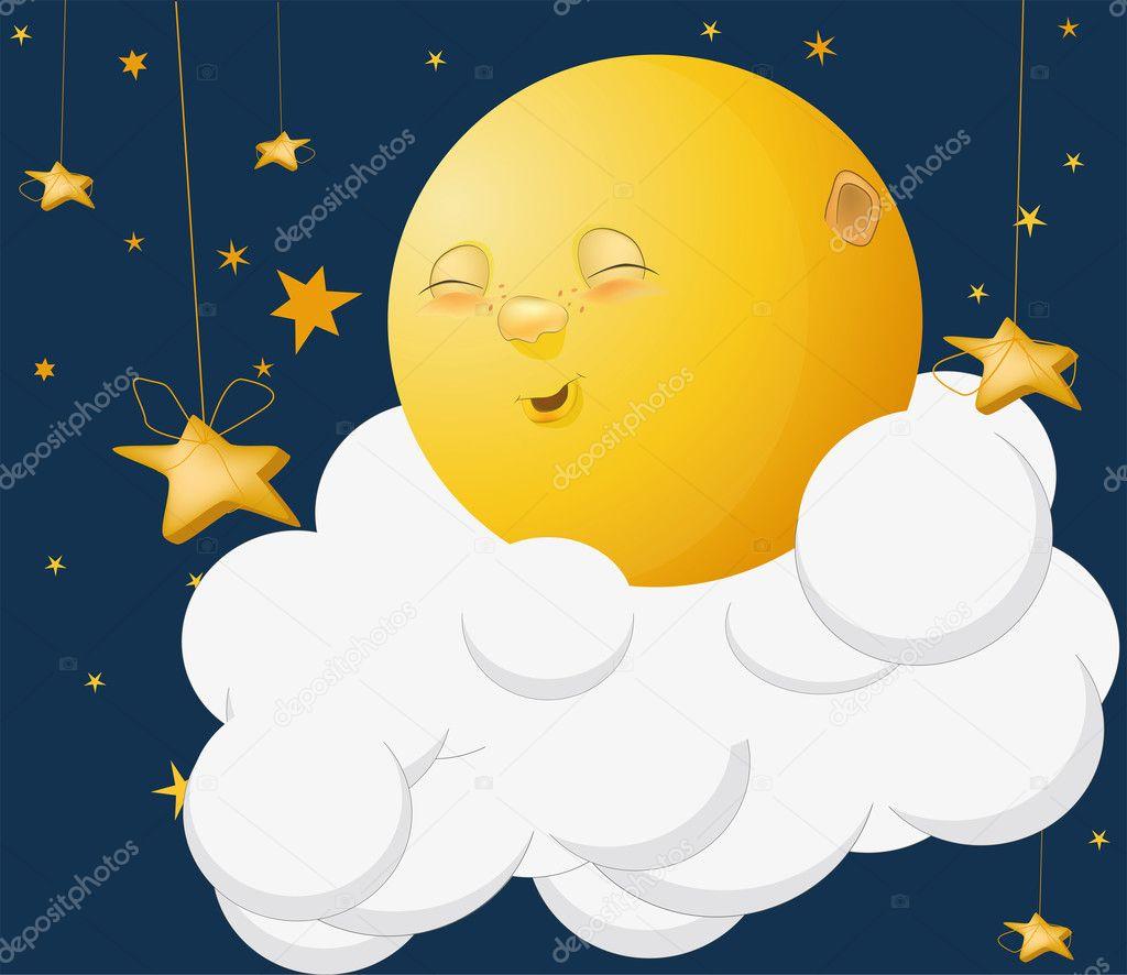 亲切月亮在云上 — 图库矢量图片 #1375383