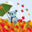 Royalty-Free Stock Vector Image: Bear cub and a leaf fall