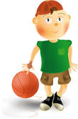 Мальчик и баскетбольный мяч — Cтоковый вектор