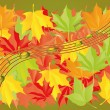 Stock Vector: Autumn leaves and musical notes