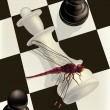 Chess and a dragonfly - Stock Vector