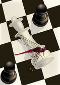 Chess and a dragonfly — Stock Vector