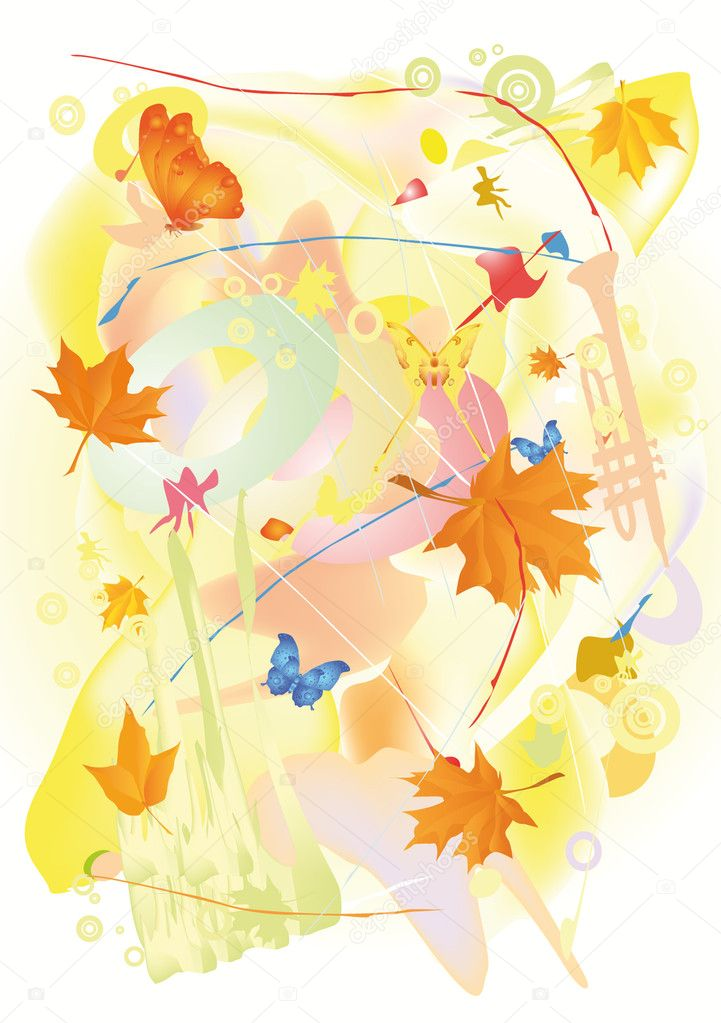 Autumn jazz  messy modern music — Stock Vector #1476771