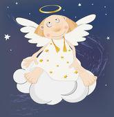 Angel in the dark sky — Stock Vector