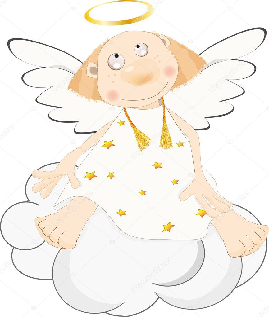 Angel on a cloud purity religion — Stock Vector #1526279