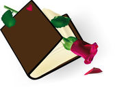 The old book with a rose — Stock Vector