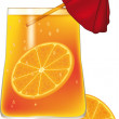 Glass with a champagne orange - Grafika wektorowa