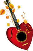 Guitar heart of the note — Stock Vector
