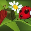 Ladybird goes to holiday - Imagens vectoriais em stock