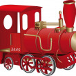 Stock Vector: Children's toy red steam locomotive