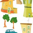 Set small houses trees the car and a lad - Stock Vector