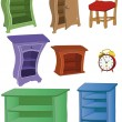 Stock Vector: Complete set furniture hours