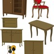 ストックベクタ: Complete set of furniture