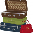 Stockvector : Complete set of suitcases