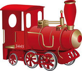 Children's toy red steam locomotive — Vector de stock