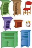 Le ore di set completi di mobili — Vettoriale Stock