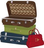 Komplett uppsättning av resväskor — Stockvektor