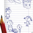 Drawn children and a pencil - Stock Vector